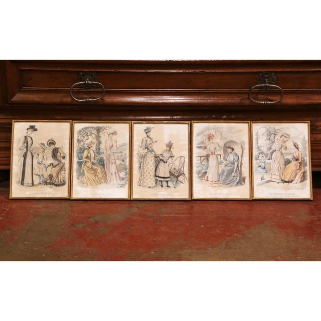 """French 19th Century French Color Women Fashion Prints Framed Dated 1890 """"Set of Five"""" For Sale - Image 3 of 13"""