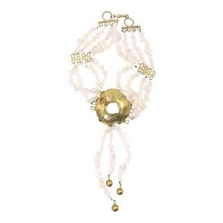 Rose Quartz & Goldtone Chocker Necklace For Sale