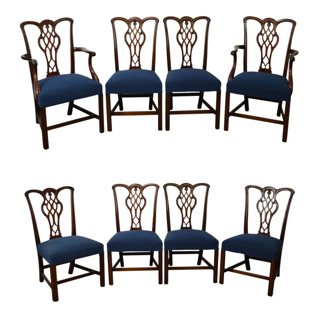 Chippendale Style Set of 8 Custom Mahogany Dining Chairs - Image 1 of 11