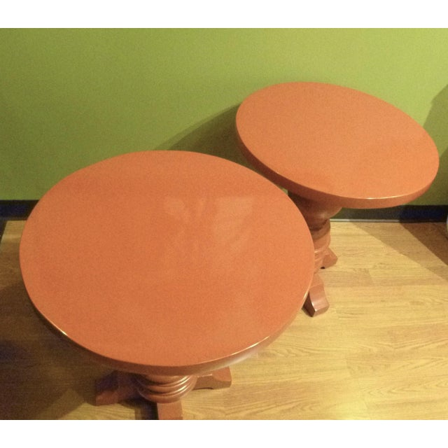 Architectural Mid Century Modern Side Tables, Orange Lacquered 1960s. - Image 10 of 11