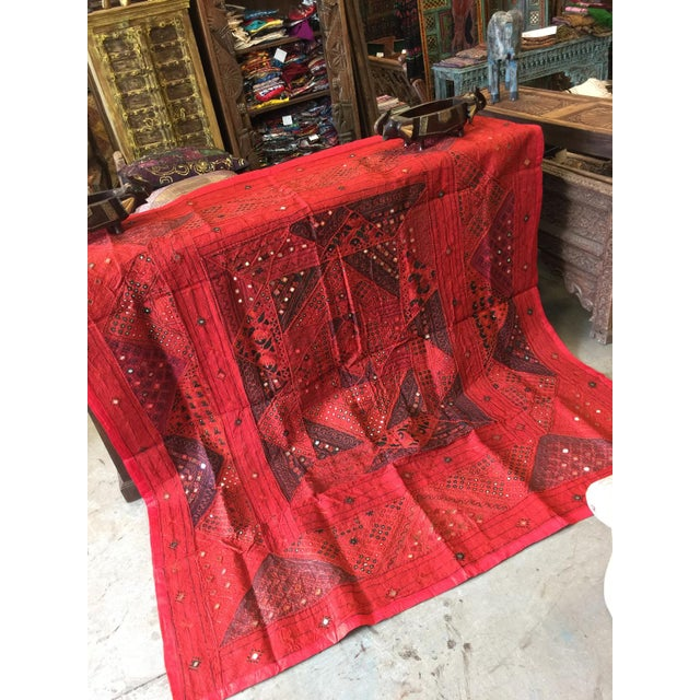Anglo-Indian Mogul Indian Banjara Tapestry Hand Embroidered Wall Hanging Throw For Sale - Image 3 of 4