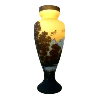 20th Century Vintage Romanian Art Glass Cameo Vase For Sale