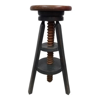Vintage English Adjustable Stool For Sale
