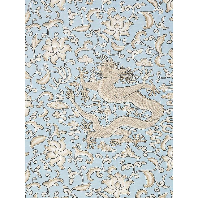 Scalamandre Chi'En Dragon Linen Print, Sky Fabric For Sale