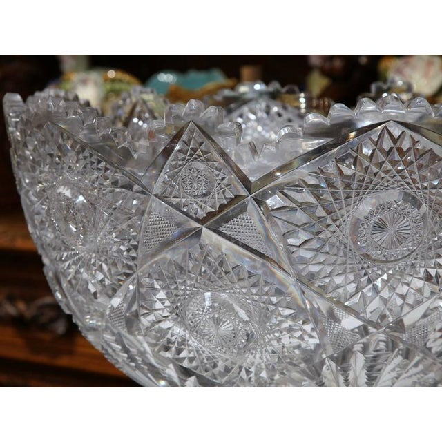Glass 19th Century French Cut-Glass Punch Bowl With Silver Repousse Base For Sale - Image 7 of 9