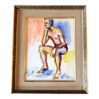 Original Vintage Male Semi Nude Watercolor Painting 1970's Vintage Frame For Sale