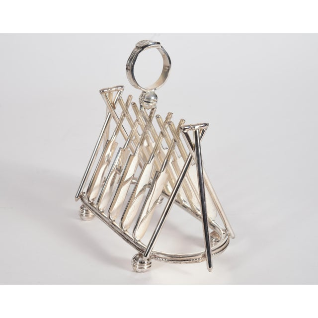 Mid 20th Century Vintage English Silver Plate Cricket Sport Design Toast Rack For Sale - Image 5 of 10