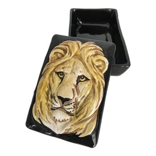 Mid-Century Italian Pottery Lion Faced Box, Vintage For Sale
