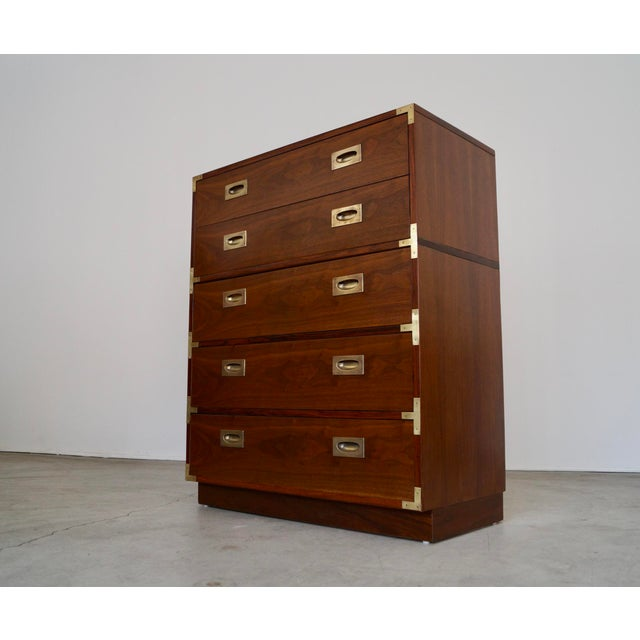 Campaign Hollywood Regency Walnut Rosewood Campaign Dresser For Sale - Image 3 of 13