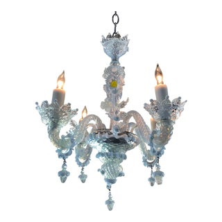 1940s Italian Hand-Blown Murano Glass Chandelier For Sale