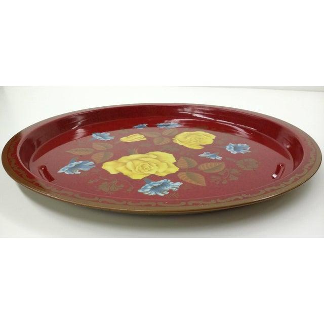 Vintage Red Metal Floral Tray - Image 5 of 9