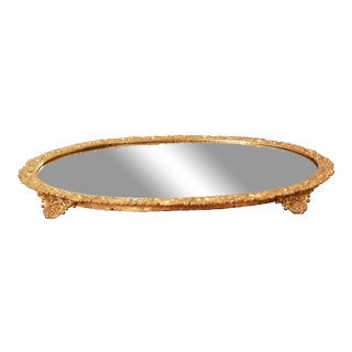 Oval Mirrored Plateau With Grapvine Carving For Sale