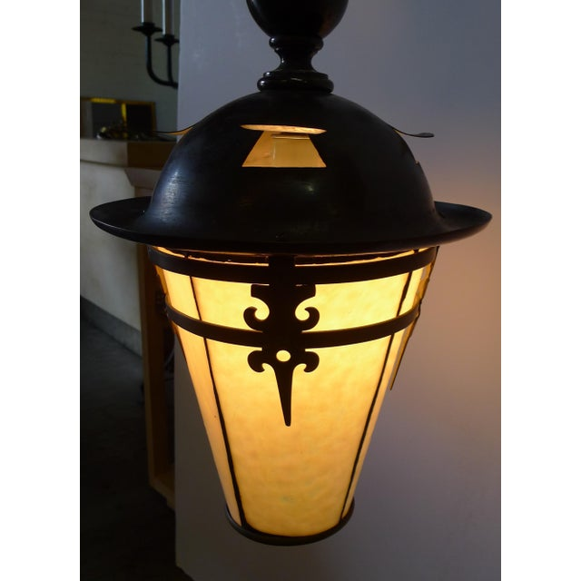 Gothic Arts and Crafts Brass Pendant Light For Sale - Image 4 of 11