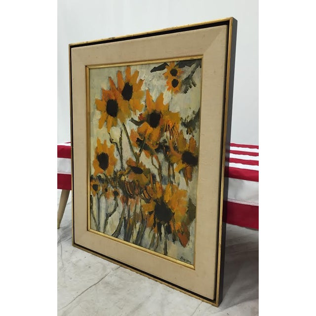 Vintage Original Elva Levy Framed & Signed Sunflower Painting For Sale - Image 11 of 11