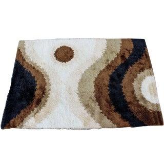 Mid Century Modern Large Shag Rya Wool Area Rug Carpet Black Brown Beige 60s 70s For Sale