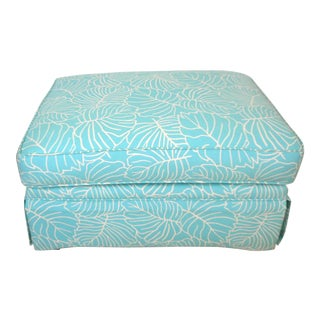 Turquoise & Cream Leaf Print Pillow Top Skirted Ottoman For Sale