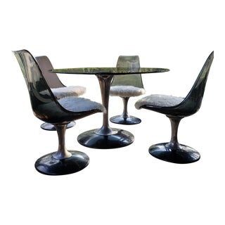 Mid-Century Modern Saarinen Style Chromecraft Smoked Glass Lucite Dining Set - Set of 5