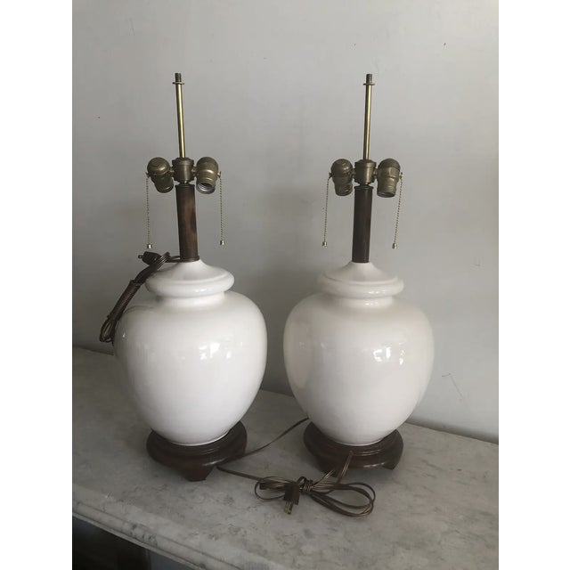 1970s Mid-Century White Ceramic Lamps - a Pair For Sale - Image 5 of 9