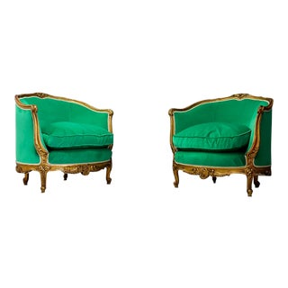 Mid-Century Green Club Chairs- A Pair For Sale