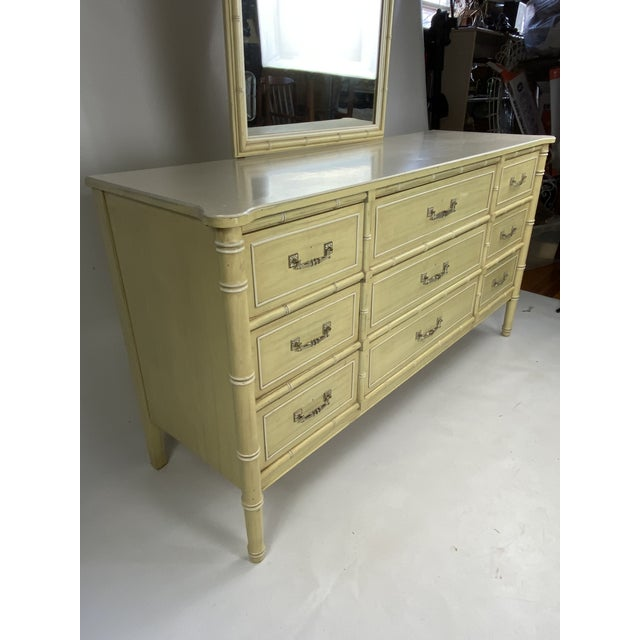 "Mid-Century Modern 1960s Henry Link ""Bali Hai"" Faux Bamboo Dresser With Mirror For Sale - Image 3 of 8"