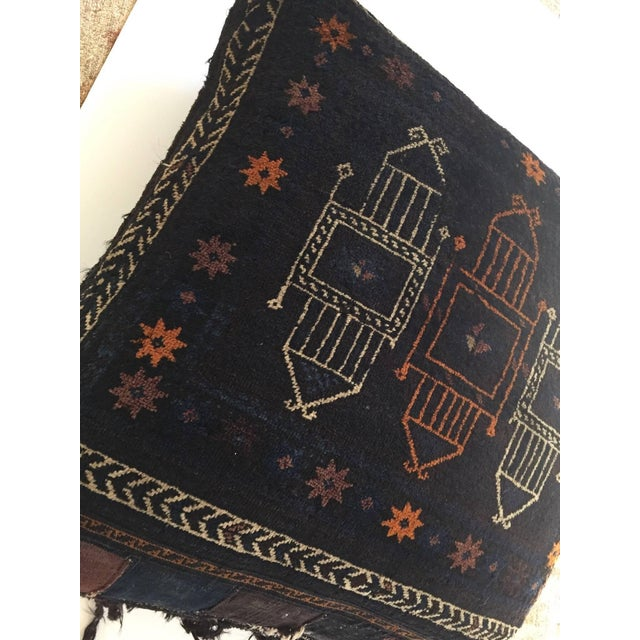 Black Handmade Antique Collectible Afghan Baluch Saddle Bag Tribal Large Floor Cushion For Sale - Image 8 of 13