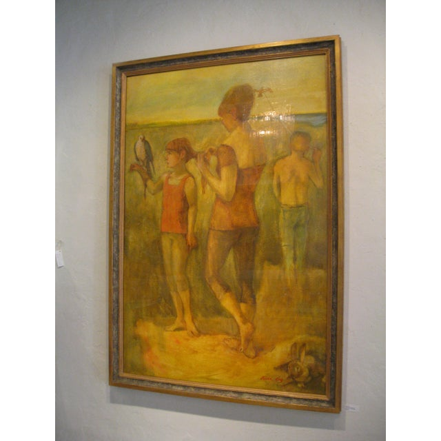 "Contemporary Fry Oil Painting ""The Young Falconer"", Contemporary Yellow Figurative Scene For Sale - Image 3 of 4"