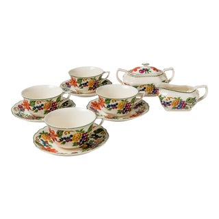 Madcap Cottage Pineapple, Fruit and Flower Motif Tea Set, S/10 For Sale