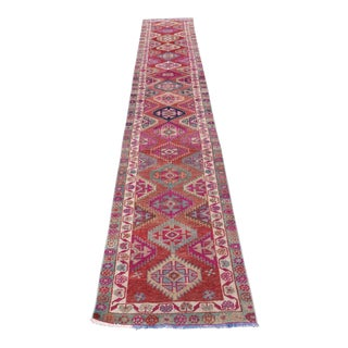 1960s Vintage Mandarin Summer Turkish Runner- 2′6″ × 12′10″ For Sale
