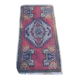 1960s Vintage Turkish Petite Handmade Rug - 1′8″ × 3′4″ For Sale