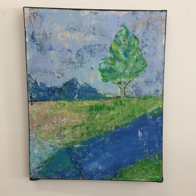 Katherine Musser Berry Tree in Landscape Original Acrylic on Canvas Painting For Sale - Image 9 of 9
