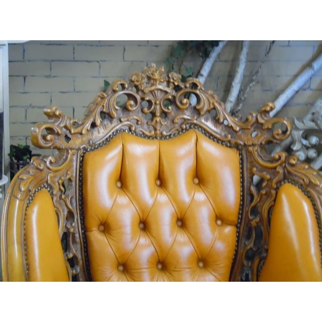 1930s Hand Carved Leather Chairs - Set of 4 For Sale - Image 6 of 9