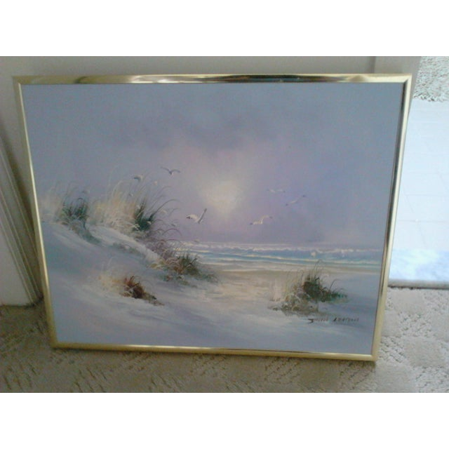 Beautiful oil painting of the ocean. Framed in gold. By John Leman. This is a whimsical piece - you can almost hear the...