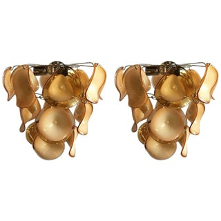 Pair of Murano Glass Cone Shaped Light Fixtures For Sale