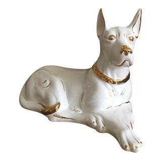 Large White&Gold Italian Porcelain Guard Dog For Sale