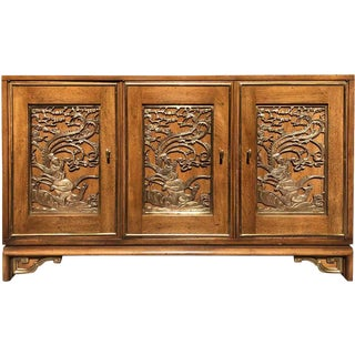 1960s Asian Antique Mastercraft Sculptured Brass Credenza