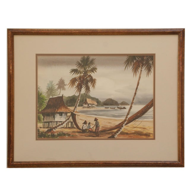 Vintage Polynesian Watercolor Paintings - A Pair For Sale - Image 5 of 7