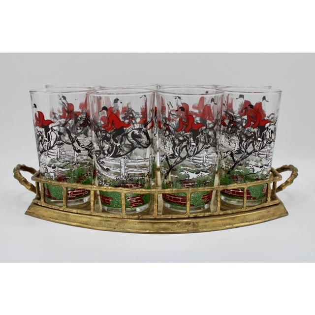 1950s English Fox Hunt High Ball Drinking Glasses - Set of Eight For Sale - Image 11 of 13