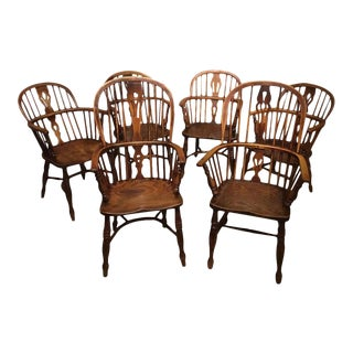 19th Century Ash and Elm Antique Windsor Armchairs - Set of 6 For Sale