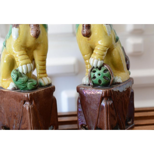 Green 1940s Foo Dog Statues - a Pair For Sale - Image 8 of 11
