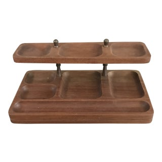 Swank Mid Century Walnut Table Top Valet For Sale