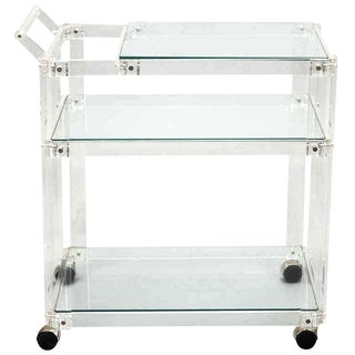 Mid-Century Lucite and Glass Bar Trolley Cart For Sale