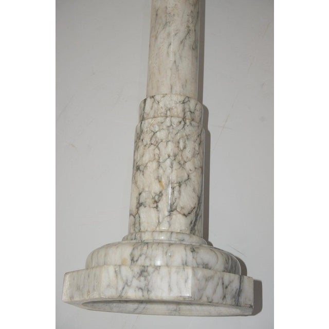 Marble 1930s Neoclassical Revival Calcutta White Marble Pedestal or Jardiniere For Sale - Image 7 of 9