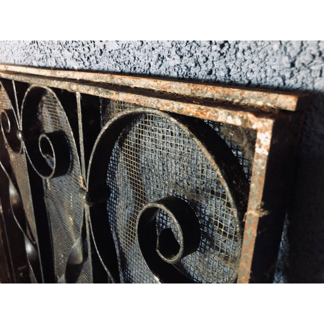 Black Antique Black Iron Fireplace Screens-A Pair For Sale - Image 8 of 10