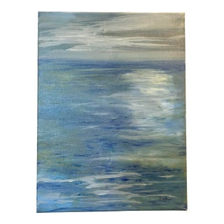 "Original Nautical Nancy Smith Seascape Oil Painting, ""Blue and Green"" For Sale"