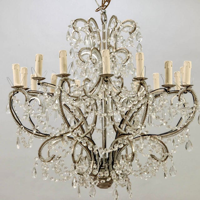 Victorian French Sixteen-Arm Silver Metal Beaded Chandelier For Sale - Image 3 of 10