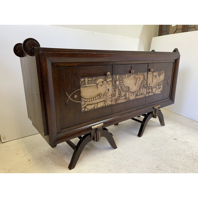French Art Deco Bar Cabinet With Mirrored Interior For Sale - Image 11 of 13