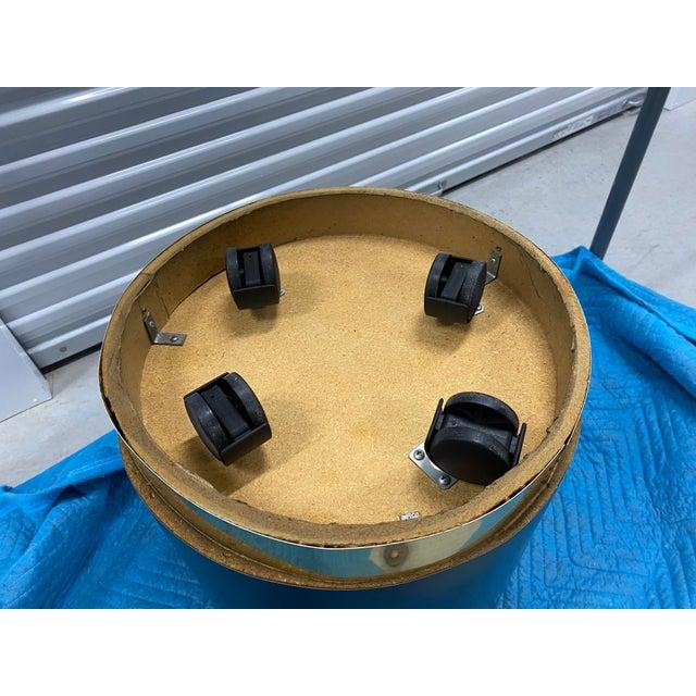 Karl Springer Black Lacquer & Brass Cylinder Drum Side Tables - a Pair For Sale - Image 4 of 6