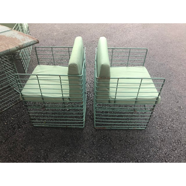 Metal Rare Josef Hoffmann Style Curvilinear Perforated Outdoor Dining Set - 5 Pieces For Sale - Image 7 of 12