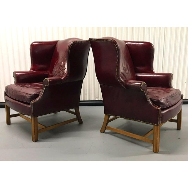 Vintage Leather Wingback Chairs — a Pair For Sale In Atlanta - Image 6 of 13