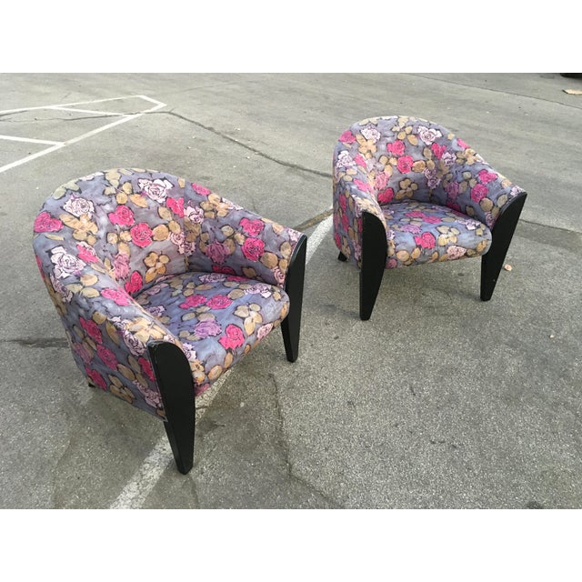 Gorgeous pair of post modern club chairs by Dakota Jackson. Completely original custom ordered from the factory for a Post...